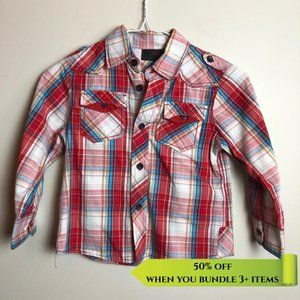 Next Blue Red Plaid Button Up Shirt - 4Y